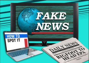 "Computer, television screen and News Paper saying ""Fake News"""